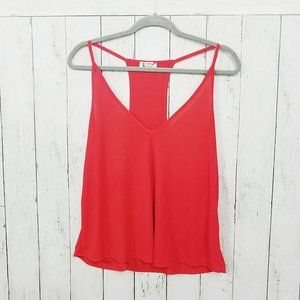 Free People Racerback Ribbed Tank Top Red Small